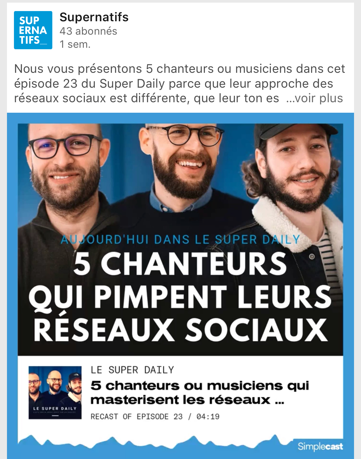 Le Super Daily Podcast Facebook 2